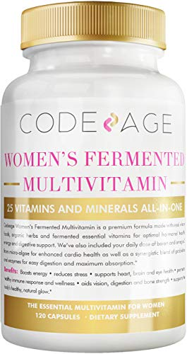 Codeage Whole Food Multivitamin for Women – Natural Multi Vitamins, Minerals, Organic Extracts – Vegan Vegetarian – Best for Daily Energy, Brain, Heart & Eye Health – 120 Capsules