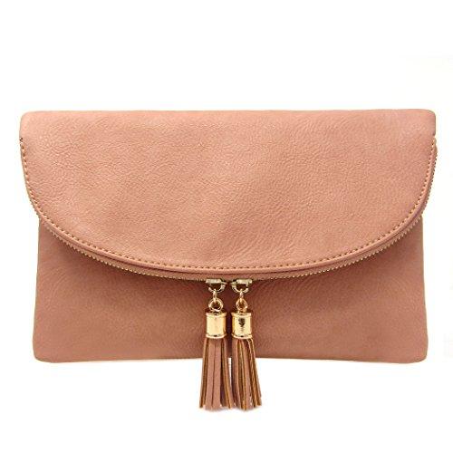 Envelop Solene Pink Rose Crossbody Tassels Women's Accent Bag Clutch With UqnwR5xHgq