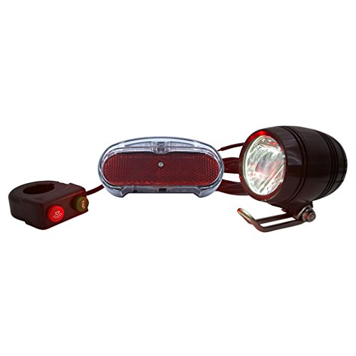 ZOOMPOWER 36v 48v compatitable e-bike headlight taillight set front light rear light set headlamp taillamp set with horn 3w by ZOOMPOWER