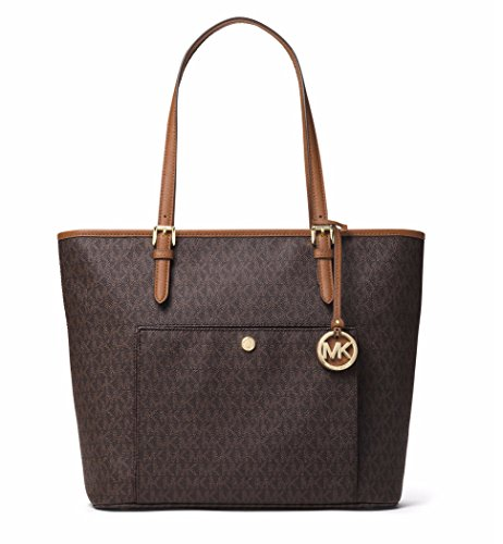 Michael Kors Mk Jet Set Signature Shoulder Bag, Brown , Large