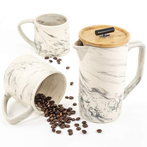 Ceramic Marble 28oz French Press Coffee Maker and 2 Large Mugs Set, Hand-Crafted Design, Stainless Steel Plunger Filter…