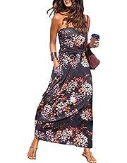 ANCAPELION Women's Evening Formal Dresses Off Shoulder Long Maxi Dress Summer Beach Casual Dress with Pockets