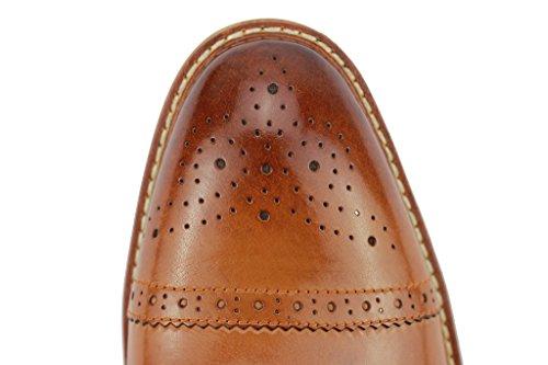 richelieu trou Smart Oxford lacets à Cuir à Homme Marron Chaussures Pour En Véritable Noir Classique Marron CSHB67xqw