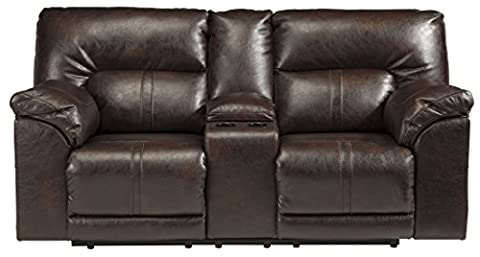 Ashley Barrettsville Power Reclining Console Loveseat in Chocolate - Over Dual Reclining Loveseat