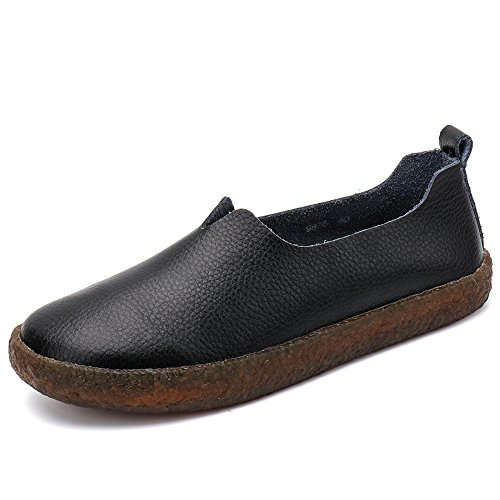 Foam Shoes Cushioned Classic Slip On Cooga Flats Memory Casual Walking Womens Black Leather AwPq08
