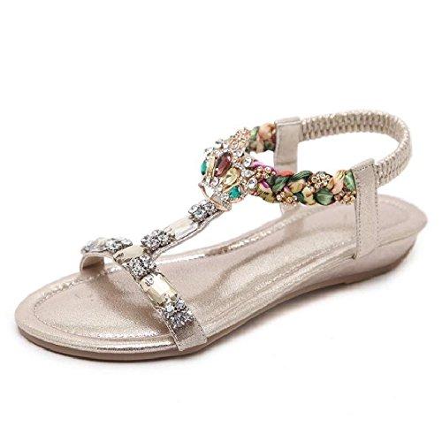 YMFIE Sandalias Planas con Cuentas de Diamantes de Imitación Bohemia de Verano Zapatos de Playa de Punta Abierta, 35 UE, Oro 35 EU|Gold