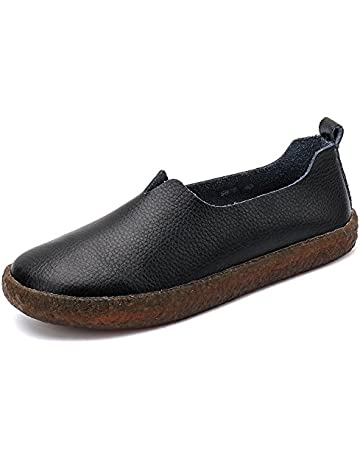 690069e83 ALEADER Women's Classic Leather Flat Shoes Slip On Memory Foam Cushioned  Loafers Ladies Mocassins