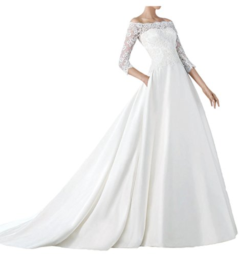 Avril Dress Elegant Bateau Ball Gown 3/4 Sleeves Wedding Gown Cathredral-16-White