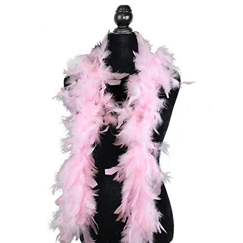 Ws&Wt 1.2m 18g 5pcs Turkey Chandelle Feather Boa Girls Princess Party Dress up Halloween Costume Boa - Baby Pink