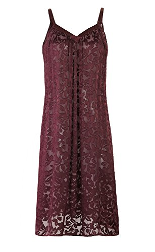 Nyteez Women's Silk Burnout Long Nightgown (Zinfandel, X-Large)