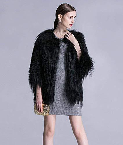 Giacche Di Pelliccia Eleganti Invernali Cappotto Marca Addensare Colore Autunno Donna Puro Outerwear Confortevole Giacca Vita Schwarz Lunga Alta Manica Moda Mode Ecopelliccia FqwHnY