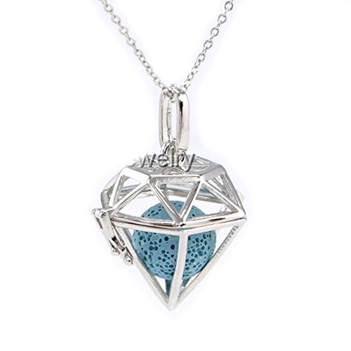 Sier Diamond Shaped Aromatherapy Essential Oil Diffuser Necklace Locket With Lava Stone (Blue) (Oil Sier)