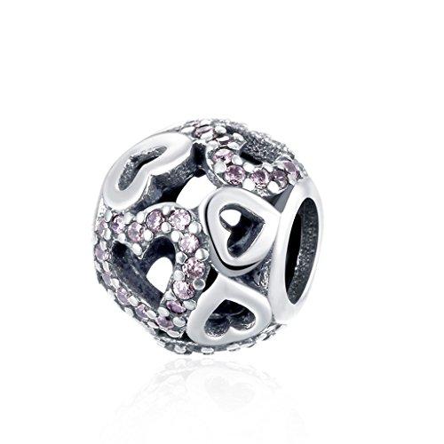 (HMILYDYK Elegant Heart Charm Bead Cubic Zirconia Crystal 925 Sterling Silver for Pandora Charms Bracelet)