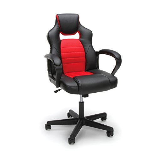 Essentials Gaming Chair – Racing Style Ergonomic Mesh and Leather Computer Chair, Red (ESS-3083-RED)