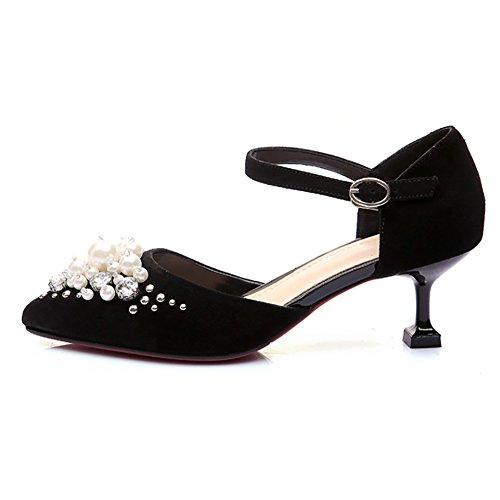 Chaussures De Mariage, Mavirs Bout Pointu Perle Talons Bas Pompes Cheville Strape Cristal Clouté Embellissement Chaton Talons Sandales Noir-daim