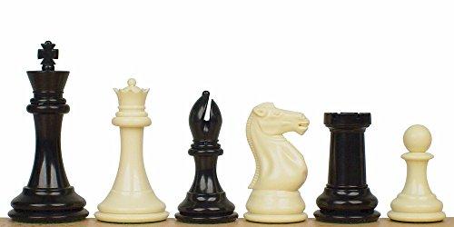 Ivory Like Chess Set (Professional Plastic Chess Set Black & Ivory Pieces - 4.125