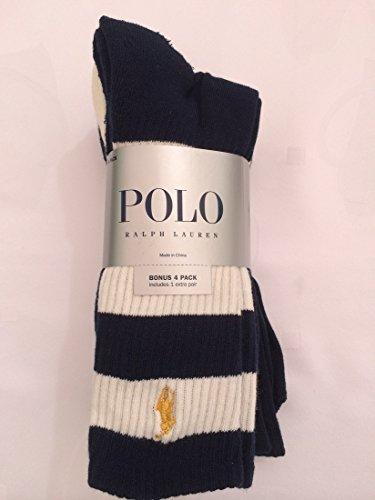 Polo Ralph Lauren Men's 4 Pairs/Pack Athletic Crew Socks - Monday Lauren Ralph Cyber