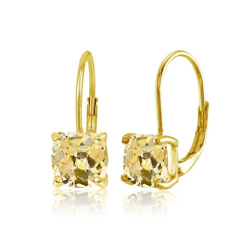 Yellow Gold Flashed Sterling Silver Citrine 7x7mm Cushion-Cut Leverback Earrings