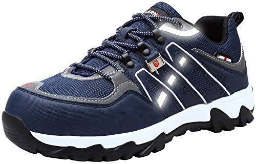 LARNMERN Men's Work Steel Toe Safety Shoes for Industrial Construction Utility Outdoors, LM-1032 (12, Blue/White)
