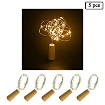 5PCS Wine Bottle Light String with Cork Battery Powered 20 LED Silver Wire Lights String Starry LED Lights(Warm White)