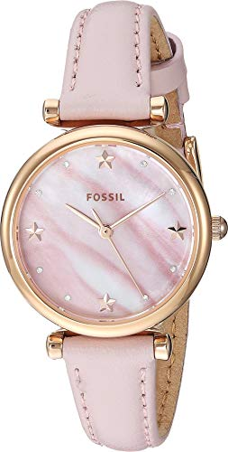 (Fossil Women's Mini Carlie Stainless Steel Quartz Watch with Leather Strap, Pink, 22 (Model: ES4525)