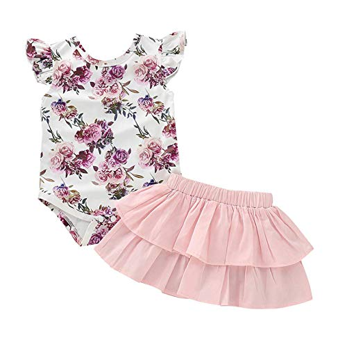 (AR-LLOYD Baby Girls Floral Skirt Sets Infant Girls Short Sleeve Romper + Skrit Dress Summer Outfit)
