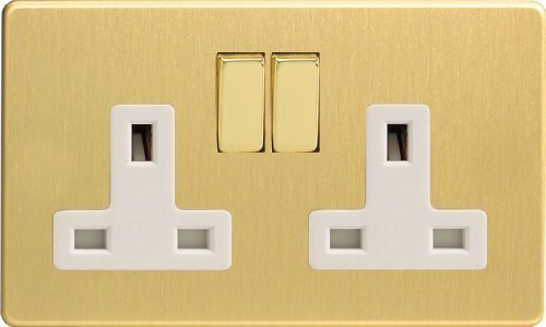 Varilight - 2 Gang 13 Amp Double Switched Socket Dimension Screwless Brushed Brass - XDB5WS by Varilight