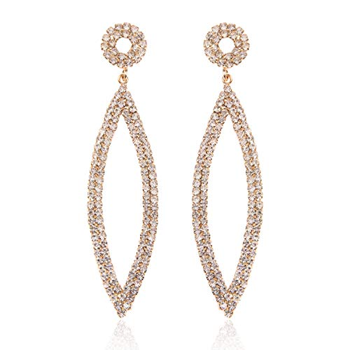 Sparkly Rhinestone Chandelier Statement Drop Earrings - Bridal Wedding Crystal Cubic Zirconia Geometric Dangles Rectangle, Teardrop, Pointed Oval Marquise, Rhombus (Marquise Dangle - Gold) ()