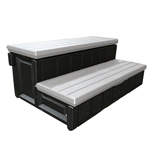 Leisure Accents - Leisure Accents Spa Step with Storage Compartment, Gray/Beige