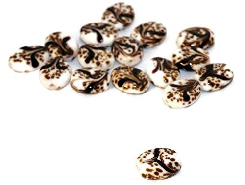 White Brown Black Grace Lampwork Beads Pair Czech Handmade Glass SRA Artisan Christmas Bead Set Round Tablet Shape Flat 15mm x 13mm 2pc