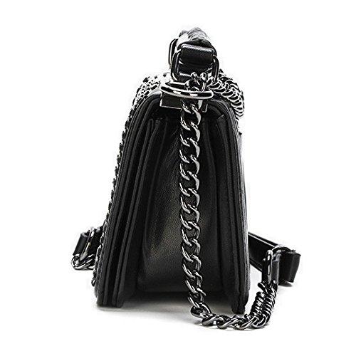 Top Sac Soirée à Sac Rivet Portefeuille Mini Bandoulière Classique Cross 90327 Handle Black à Sac Petit De Main Femmes Chaîne Body 4qBKAtw