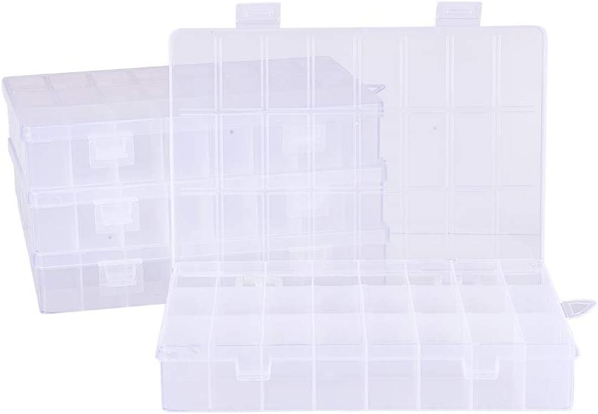 PandaHall Elite 4 Pack 24 Grids Jewelry Dividers Box Organizer Clear Plastic Bead Case Storage Container for Beads, Jewelry, Nail Art, Small Items Craft Findings 19x13x3.6cm, Compartment: 4.1x2.3cm