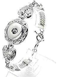 Interchangeable Snap Jewelry Toggle Bracelet Heart Design Holds 18-20mm Snaps