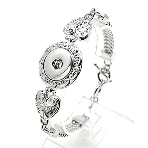 changeable Snap Jewelry Toggle Bracelet Heart Design Holds 18-20mm Snaps (Heart Toggle 1 Piece)