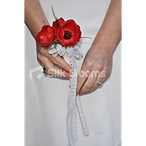 Elegant Fresh Touch Red Anemone & White Lace Flower Girl Wedding Wand 79