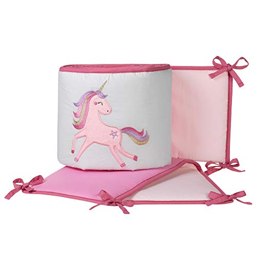 Lambs & Ivy Magic Unicorn Pink Perfect Fit 4-Piece Baby Crib Bumper (Princess Crib Bumper)