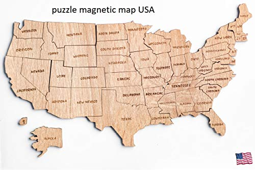 Puzzle Magnetic USA map Magnetic United States of America Laser Cut Puzzle, 50 state USA