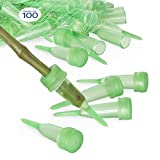 """Floral Water Tubes/Vials For Flower Arrangements by Royal Imports, Green - 2.5"""" (1/2"""" Opening) - Pointed Style - 100/Pack - w/Caps"""