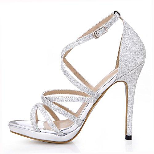 Tacco Sposa CHMILE Scarpe Argento glitter 1cm alla Nuziale Caviglia Partito a Moda Eleganti CHAU Donna Cinturino Sandali Alto Spillo Piattaforma da wvXfSqv