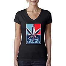 Yes We Cannabis   Poster Parody   Womens Weed Junior Fit V-Neck Tee