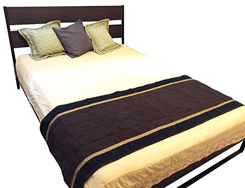 "Quilted Micro Suede Bed Runner Scarf Slipcover Pad or Furniture Protector V2 (26x76""inch, Brown)"