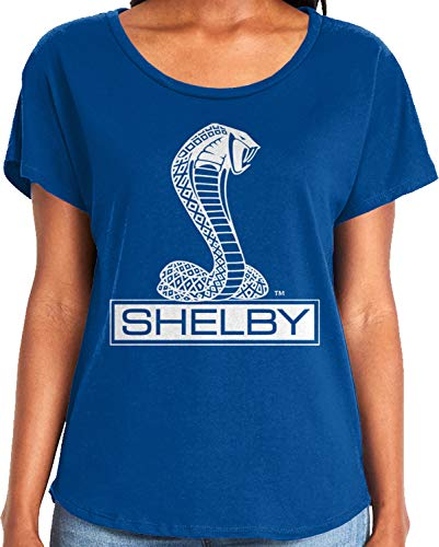 Amdesco Ladies Shelby Cobra Logo Dolman T-Shirt, Royal Blue -