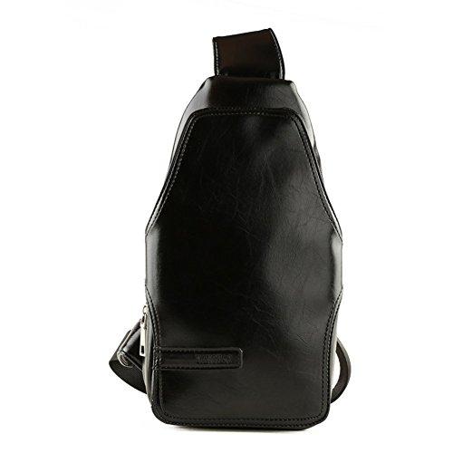 Sincere® La bolsa de mensajero-negro bolsa de ocio del mensajero / bolso de deportes al aire libre en el pecho / Estudiante Mochila / de los hombres