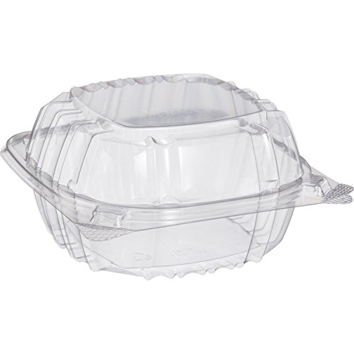 Small Clear Plastic Hinged Food Container 6x6 for Sandwich Salad Party Favor Cake Piece (Pack of 75)]()