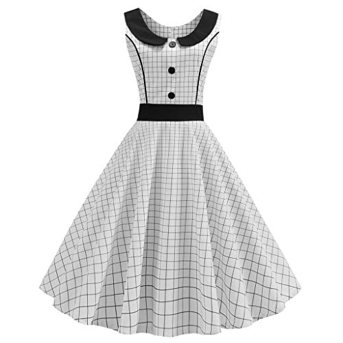 (Gillberry Women's 1950s Sleeveless Vintage Floral Cocktail Skater Swing Dress)