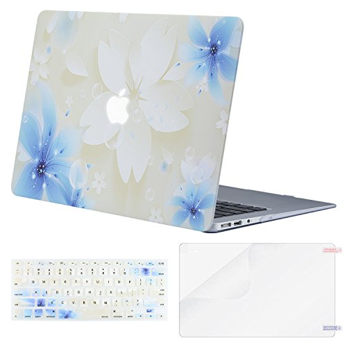 MOSISO MacBook Air 13 Inch Case (Release 2010-2017 Older Version), Plastic Pattern Hard Case & Keyboard Cover & Screen Protector Only Compatible MacBook Air 13 (A1369 & A1466), Lily on White Base