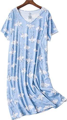 Amoy-Baby Women's Nightgowns Short Sleeves Cotton Sleepwear Print Sleep Shirt XTSY108-Cloud Moon-L -