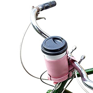 Cruzy Leather Bike Cup Holder Handmade by Hide & Drink :: Florida Flamingo