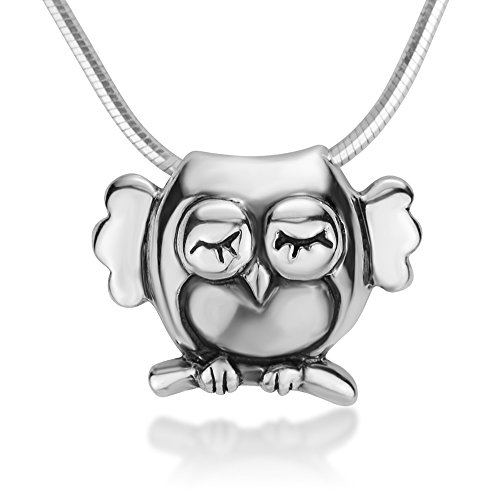 Chuvora 925 Sterling Silver Little Owl Bird Standing on Tree Branch Pendant Necklace, 18 inches