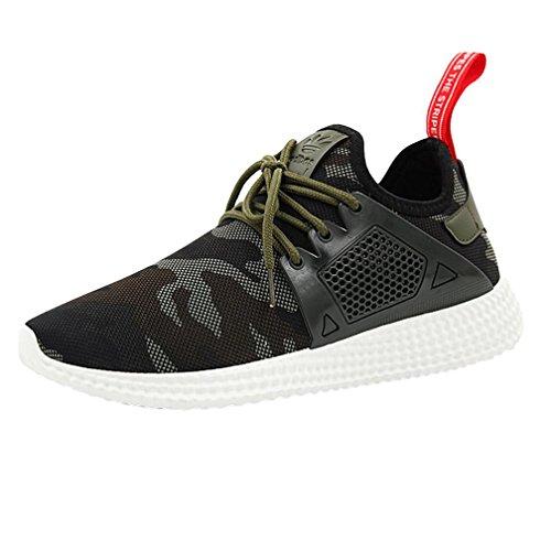 Sky Zapatos de Deportes de Los Hombres de Malla Zapatos Deportivos Zapatillas de Deporte Straps Sports Running Sneakers Camouflage Shoes (41, Verde)